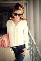 Promation,2014 autumn new fashion long sleeve V-neck loose plus size women clothing chiffon blouse shirt,slim blusas feminias