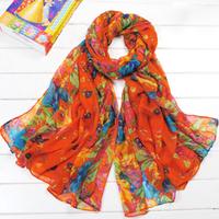 New Fashion Style Orange Long Winter Warm Cotton Scarves Voile Flower Shawl Scarf  Wrap Pashmina Stole Gift For Girl/Lady WP0110