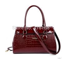 Big fashion handbag bag banquet bag OL career glossy patent leather crocodile pattern handbag shoulder bag Post