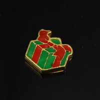 2014 Hot Sale Zinc Alloy Christmas Gift Box Floating Charms for Living Locket 20pcs/lot F346