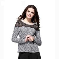 2014 Women Patchwork O-Neck Full Sleeve Shirt Brand Spring and Autumn Female Clothig