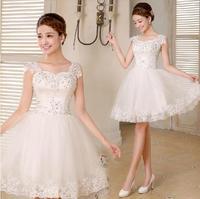 Fashionable New Sweet Lace Short wedding dress 2014 white vestido de noiva wedding dresses casamento bridal gown W109
