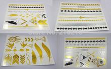 4pcs/lot  Gold Silver Metalic Temporary Tattoos(China (Mainland))