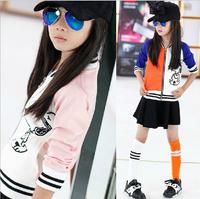 autumn 2014 new long-sleeved jacket girls cartoon tide spell color stretch baseball uniform cardigan