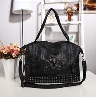 Free Shipping Fashion Genuine Sheepskin Women Leather Handbag Punk Skull Rivet Women Leather Tote Should Bag Messenger Bag