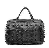 Free Shipping Fashion Genuine Sheepskin Women Leather Bucket Handbag Women Caps Rivet Leather Tote Should Bag Messenger Bag