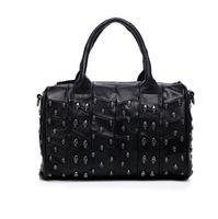 Free Shipping Fashion Genuine Sheepskin Women Leather Bucket Handbag Women Skull Rivet Leather Tote Should Bag Messenger Bag