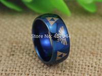 Free Shipping USA UK Canada Russia Brazil Hot Sale 8MM Legend of Zelda Shiny Blue Dome Men's Lord Fashion Tungsten Wedding Ring