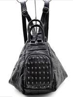 Free Shipping Punk Genuine Sheepskin Women Leather Skull Rivet Large Handbag Multifunctional Women Leather Should Bag