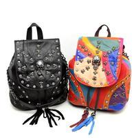 Free Shipping Punk Genuine Sheepskin Women Leather Diamond Skull Rivet Handbag Fashion Women Leather Tassel Should Bag