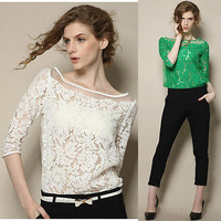 Hot Sale New Women Floral Lace Sexy Top Short Sleeve Summer Fashion Blouse T-shirt Blouse