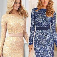 Hot Sale Elegant Womens Fashion Lace Crochet Bodycon Sheath Party Evening Dress