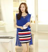 free shipping !  female striped chiffon tank dress women's big size sleeveless summer clothing girl's contrast color dress