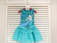 Vestido Infantil Real Frozen Dress Elsa & Anna Summer for Girl 2014 New Princess Dresses Brand Girls Children Clothing Kids Wear
