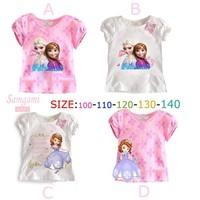 2014 Freeshipping!new Arrival!2014 Summer Cotton Short Sleeve Girl Frozen Elsa T Shirt Children Shirts Cartoon Tshirt 5pcs/lot