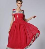 free shipping ! girl's short sleeve chiffon long dress female bohemian beach dress women's big size summer clothing