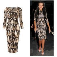 Vestidos Dresses New 2014 Women summer dress polyester half sleeve printed leopard slim fashion girl evening dress plus size