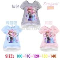 Vestido Infantil Rushed Regular Short 2014 Elsa Dress New Summer Anna Dresses Frozen Princess Girl Clothes Night Gown 5pcs/lot