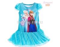 Vestido Infantil New free Shipping, 1-6yrs Girls' Frozen Kid's 2014 Cartoon Summer Dress Girl's Tutu Princess Lovable Clothing