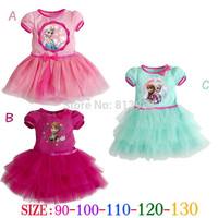 Hot Rushed Frozen Dress Elsa & Anna Summer for Girl 2014 Princess Dresses Brand Girls Children Clothing Kids Wear Drop Shipping