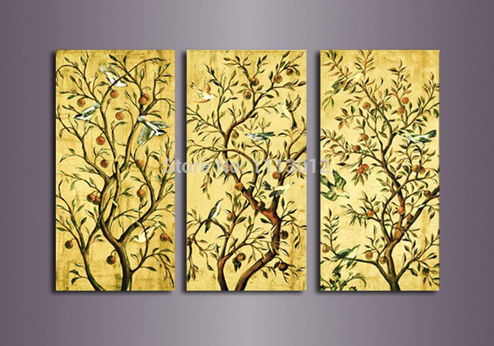 Oil Tree Paintings Yellow Bird Tree Fruit Oil