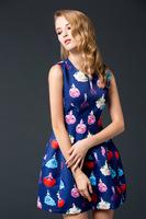Free shipping 2014 new fashion woman Autuman Winter cute sleeveless empire colorful print dress bud dress