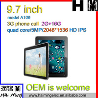 new arrival top quality 2048*1536 HD IPS 2G RAM 9.7 inch tablet pc quad core Model No.A109