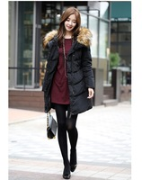 2014 winter women down coat warm big fur collar nagymaros hooded jacket coat long style white duck down black winter coat