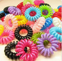 Candy -colored telephone line hair ring / Hair Accessories / hair rope / spring rubber band 10pcs/lot