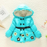Free shipping!cute flower Children's Coat Cute Girls Warm Coat Winter Children Cotton Jacket thick Cotton-Padded Clothes