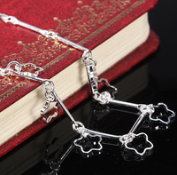 925 Silver Plated Flower Drop Anklet Ankle Bracelet Chain Link Foot Hot Sale DH