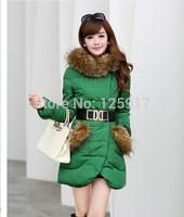 2014 new women's winter warm down jacket big fur collar Nagymaros winter coat slim fit mid-long female hooded down coat