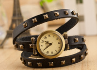 Round 3 square leather punk style watch