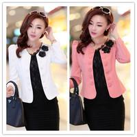 new 2014 spring women's o-neck blazer double breasted blazer red slim short jacket trench Three Quarter suits plus size M-XXXL