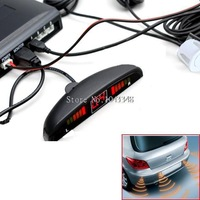4 Sensors Led Display Car Parking Sensors Reverse Sensor Backup Radar System DC 12V White Worldwide FreeShipping