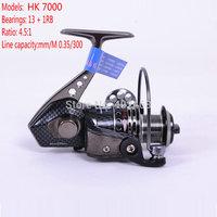 Spinning  reel  Fishing reel Tokushima  HK7000  14 precision Ball Bearing  Metal body  Aluminium alloy folding rocker arm