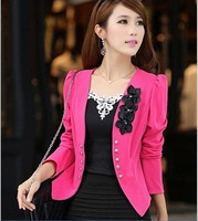 L-5XL 5COLOR New Arrival 2014 Women Blazers Spring And Autumn Candy Color Medium-long Slim Blazer Outerwear Long-sleeve Suit