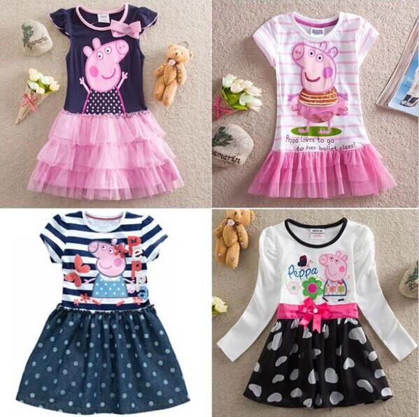 Free shipping 2014 Peppa pig girl's dress baby girls summer dresses children clothing Kids cartoon wear child girl clothes(China (Mainland))