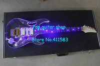 Wholesale -Custom Shop Transparent Color 24 Frets H-S-H 3 Pickups Rosewood Fingerboard Acrylic LED Flicker Electric Guitar