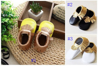 New Various of Genuine leather baby tassel moccasins soft sole moccs booties toddler/infant solid colour fringe shoes prewalker