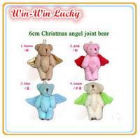 Free Shipping 20PCS / LOT Mini movable joints Bear plush toys. Christmas style angel wings bear doll pendant. kids toys 4 colors