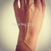 2014 Sexy Gold Hand Chain Jewelry Women Boho Style Slave Bracelet Body Armor Finger Chains Bracelet