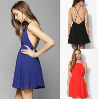 D80*Women`s High Waist Sexy Backless Chiffon Dress with Adjustable Shoulder Straps Strapless Mini Hip One-pieces Bandage Dresses