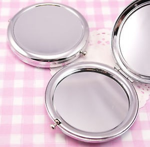 New cosmetic pocket mirror makeup blank compact mirror Silver Colour For DIY Decoden 200X Drop Shipping(China (Mainland))