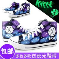 Exo shoes hand-painted shoes graffiti shoes HARAJUKU luminous shoes canvas shoes
