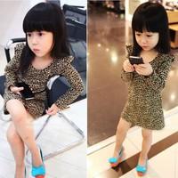 Free shipping 2014 New fashion baby Children Kids leopard dress girls long sleeve Mini dress spring autumn clothing