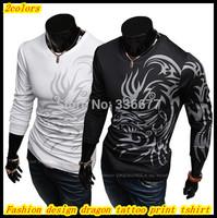 Free shipping European style round neck long sleeve slim fit dragon tattoo prints Tee shirt for men QR-1424