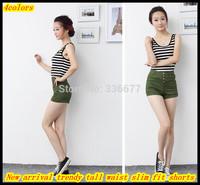 Free Shipping Ladies New arrival Summer Hot sale Tall waist Slim fit  Fashion Shorts QR-1423