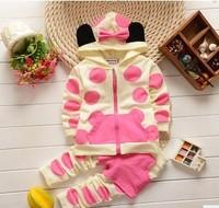 2014 autumn new  children's clothing set wholesale cotton baby girls set 0-3 year-old girl Mickey cartoon