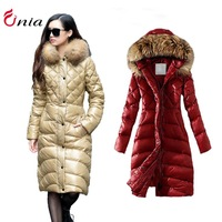 NEW 2014 parkas winter coat women oversized fur collar women's Winter longer duck down jacket plus size # 6738